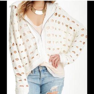 Women's Free People hole knit sweater top hooded